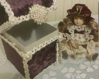 Miniature doll, treasure chest box, keepsake box, fabric box, storage box, vintage box, trinket box, jewellerybox, memory box,doll box,