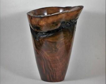 Hand turned black walnut vase