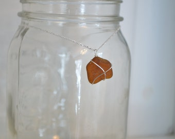Irregularly Shaped Brown Seaglass Necklace
