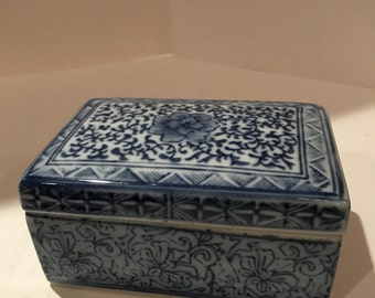 Vintage Floral Blue and White Ceramic Trinket Box Made in China