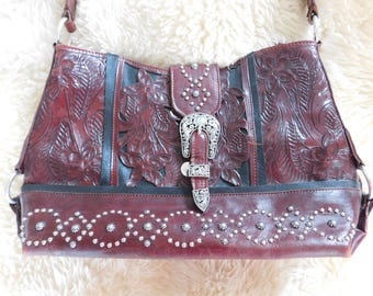 Beautiful Tooled Leather PURSE/HANDBAG Western in Excellent Condition