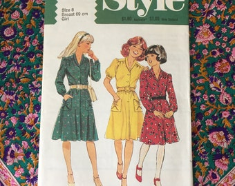 """1970s Vintage Style Pattern 2880 Girls' Dress with Full Skirt Forward Yoke and Roll Collar and Front Button Opening - Girl Size 8 Breast 27"""""""