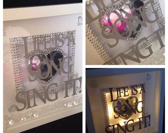 Quirky life is a song sing it light up free standing box frame