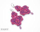 Pink purple statement earrings, wedding soutache earrings, pink chandelier earrings, big purple textile earrings, wedding jewelry soutache