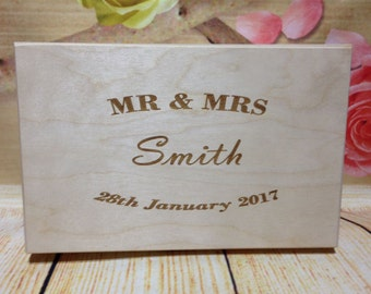 Personalised Wooden Wedding Photos Bespoke Gift  Made to Order Present Keepsake New Lasered Engraved Store Memories