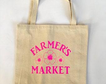 Reusable Bag, Farmers Market Tote, Market bag, Grocery Bag, Shopping bag, Canvas Bag, Eco Friendly Bag, Tote, Go Green Shopping Bag