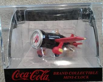 Coca Cola Collectable Mini Airplane Clock NIB