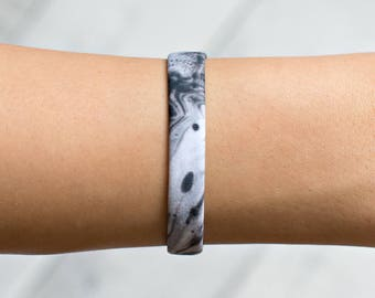 Marble Bracelet, Black Bracelet, Swimsuit Fabric, Marble Jewelry, Gift For Her, Stretch Bracelet, Bracelet Marble, Womens Bracelet, Bracelet