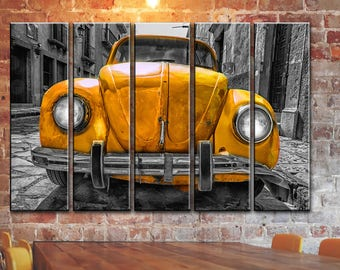 Volkswagen VW Wall Art Beetle Bug Wall Canvas Art Vintage Rusty Car Wall Art Retro Car Canvas Art Frame Panels Canvas Wall Print Poster