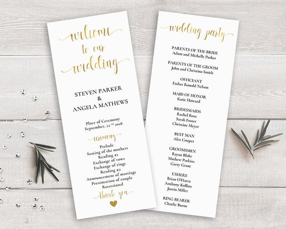 Gold Wedding Program Template Order Of Ceremony Printable DIY Calligraphy Party