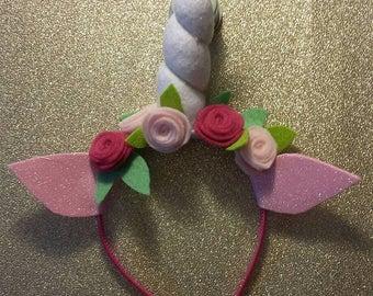 Unicorn headband, unicorn hair, festival hair, hair accessory, unicorn horn, flower girl, fancy dress, flower crown, fairytale wedding