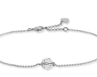 Very thin chain, Swarovski Crystal Bead Bracelet