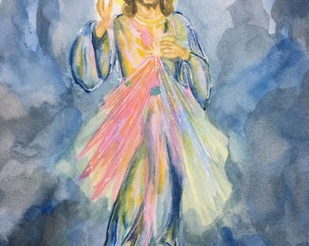 Jesus Christ Divine Mercy painting, watercolor