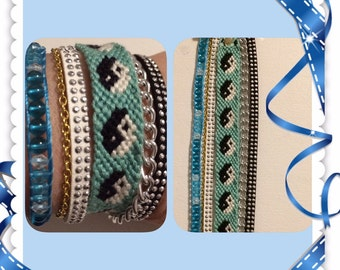 Blue, white, grey 18 cm Cuff Bracelet.