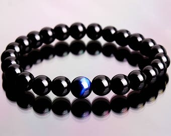 Mens Onyx Bracelet, Men's Bracelet, Onyx Bracelet, Tiger Eye Bracelet, Gemstone Bracelet, Beaded Bracelet, Gift for Him, Mens Jewelry, Mens