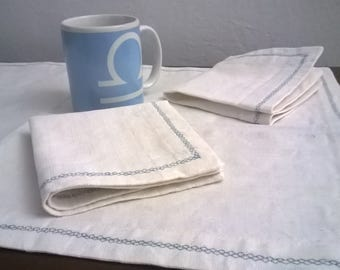 Breakfast set natural hemp washcloth with two napkins.