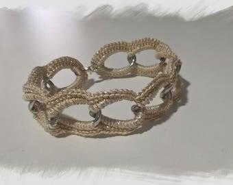 Crochet beige bracelet