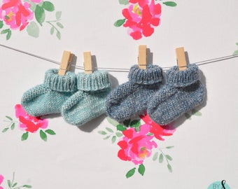Knit blue baby booties, size 9 to 12 months