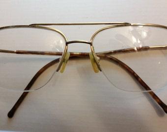 "Oversized 80s metal math accountant professor NASA eyeglasses - 5 3/8"" temple-to-temple"