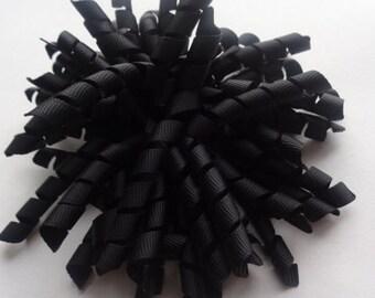 Black Pom Pom Corker Hair Bow black korker ready to ship