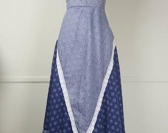 1970s Blue Gunne Sax Maxi Skirt
