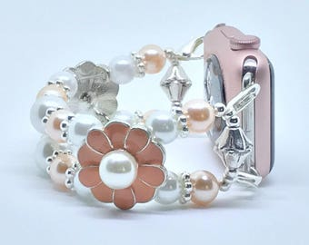 """Peach Swarovski and White Faux Pearl Beaded Bracelet Watch Band For 38mm or 42mm Apple Watches (w/ Silver) for Wrist Sizes 6 1/4"""" -  6 1/2"""""""