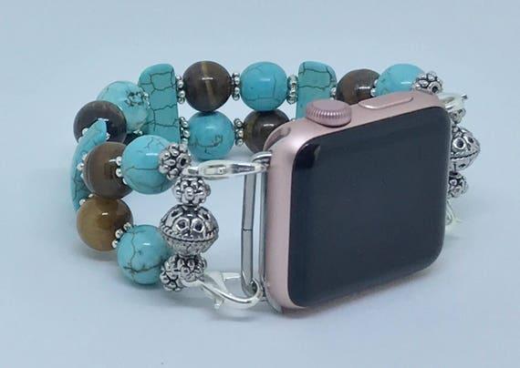 """Apple Watch Band, Women Bead Bracelet Watch Band, iWatch Strap, Apple Watch 38mm, Apple Watch 42mm, Crackle Blue, Brown Size 7 1/4"""" - 7 1/2"""""""