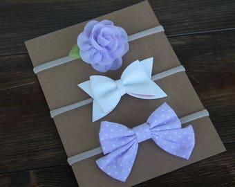 Set of 3 Nylon Baby Headbands-Lavender Chiffon Rose/White Leather Bow/Lavender & White Dot Tail Bow