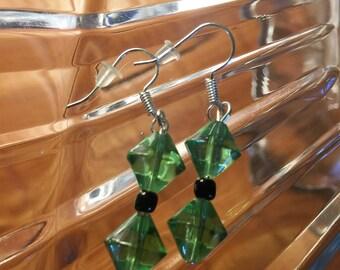 Green & Black Dangle Earrings