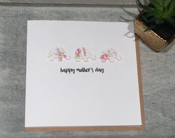"Happy Mother's Day White elephant card 5""x5"" Love Pink Floral"