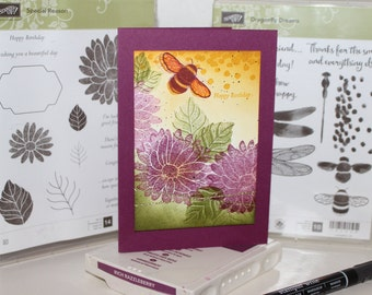 Handmade Stampin' Up! Purple Bee and flower Happy Birthday Greetings Card