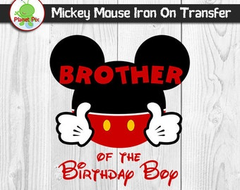 Brother Of The Birthday Boy Mickey Mouse Iron On Transfer, Birthday Boy Printable Iron On T-Shirt Clipart, DIY Mickey Family Birthday Shirts