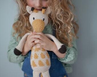 Crochet Stuffed Animals | Amigurumi Giraffe Akita / Crochet Plush Toy / cream yellow and brown