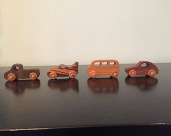 Four Mini Wooden Vehicles