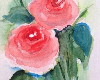 """Watercolour, watercolour postcard """"Roses"""" flowers, unique, 14,8 x 10.6 cm"""