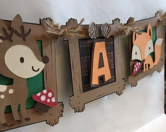 woodland critters animal baby shower banner, fox banner, deer banner, baby themed banner, woodland theme banner idea, woodland animal decor