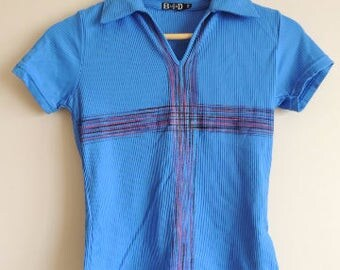 FREE SHIPPING - Vintage Dapper Bright Blue Cotton t-shirt with colorful cross and collar, size approx. S