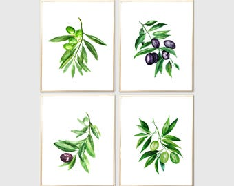 Olives watercolor print Set of 4 Art print Olives painting Wall decor Botanical watercolor print Olives Leaves poster Olives home decor