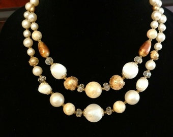 Handmade Vintage Necklace - Two Strand Beaded Necklace