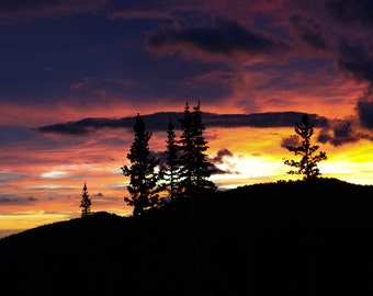 Firery Sunrise at Rocky Mountain National Park Digital Photography, Instant Download Photo
