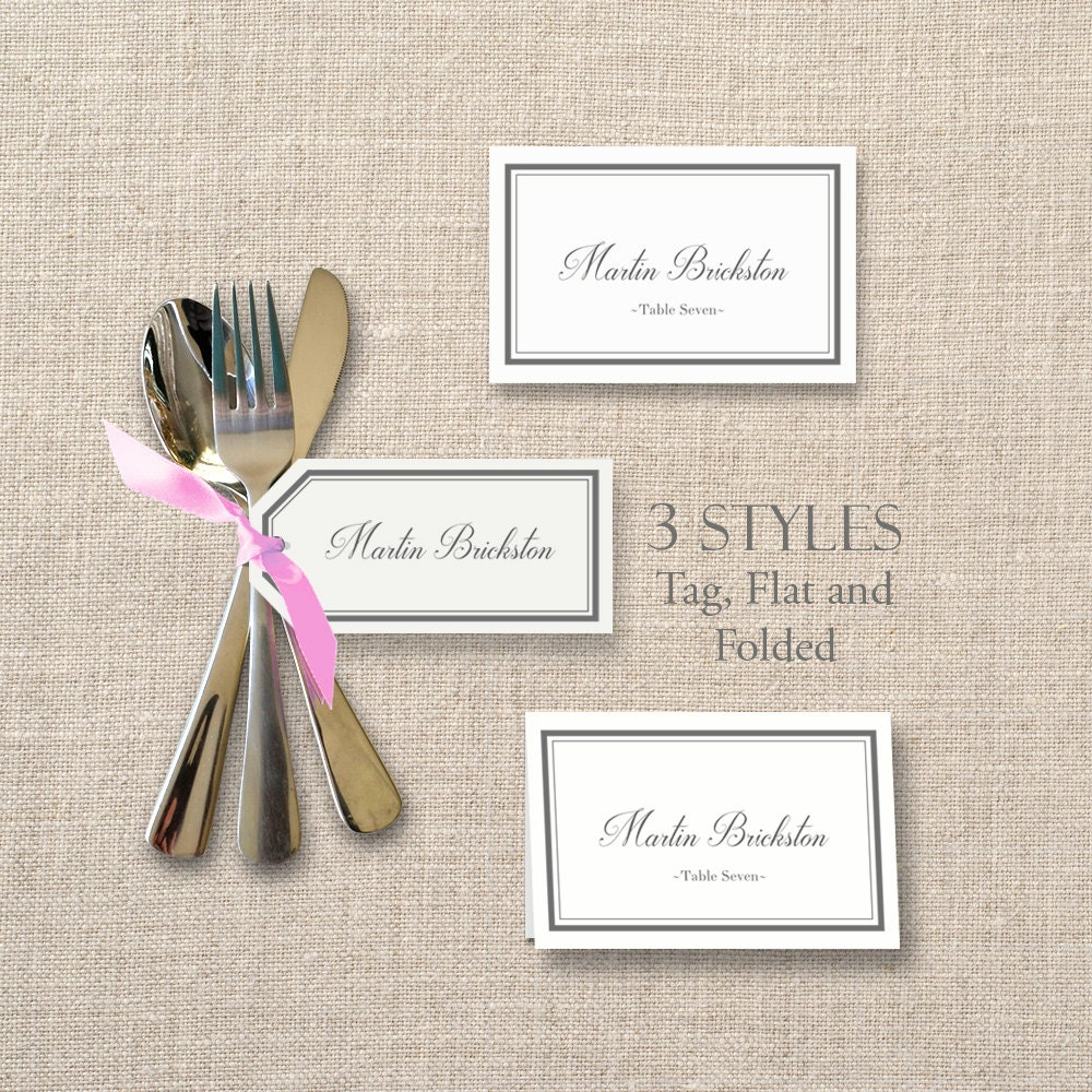 printable diy place card templates classic border wedding tags