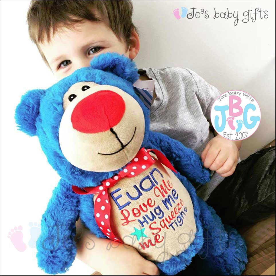 personalised blue teddy bear cubby bear custom made teddy new