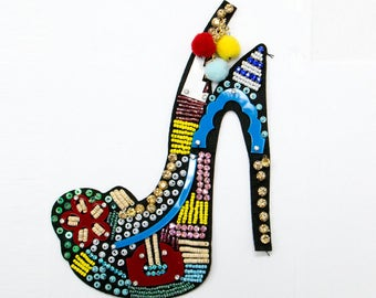Free Shipping! Heel Beaded Acrylic with Pom Sew On Patch, Shoe Sewing Applique