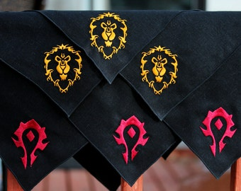 Horde and Alliance Fabric Napkins - World of Warcraft Inspired