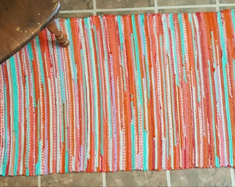 Bright throw rug, kitchen rug,woven rag rug, woven rug,summer rug, hallway rug, entry rug, bathroom rug,red, orange, pink, teal, purple rug