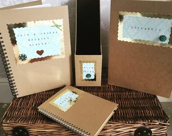 Gold & Teal Wedding Planner Stationery - Vintage Brown Recycled Personalised - Budgets, Documents Folder, File Notes Holder