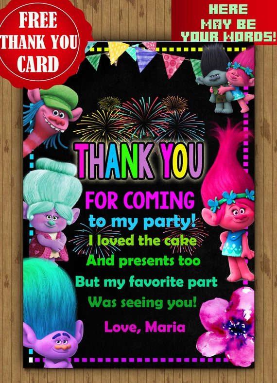 Birthday Invitation Trolls Digital Instant Download Prev