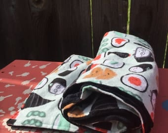 COZY - Customize Me! Sushi Blanket, Nigiri Blanket, Edemame Blanket, Sashimi Blanket with Black Minky Dot Fleece, Baby Shower Gift