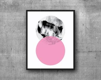 Graphic Circle Print, Art Print, Wall Decor, Pink Digital Print