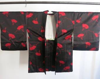 Kimono haori black smooth from Japan stitched vintage kimono